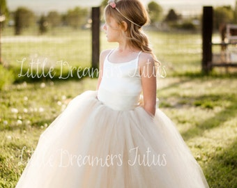 The Grace Dress in Ivory and Champagne - Flower Girl Tutu Dress