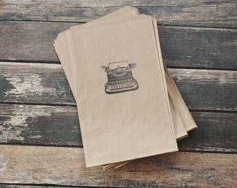 typewriter kraft bag 5x7 - Kraft Gift Bag - Typewriter Treat Bag - Gift Bag - Typewriter Favor Bag - Kraft Barn Wedding Bag - Typewriter