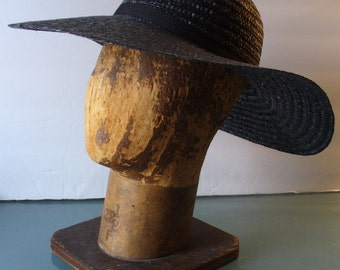 Made in Italy Wide Brim Black Straw Hat