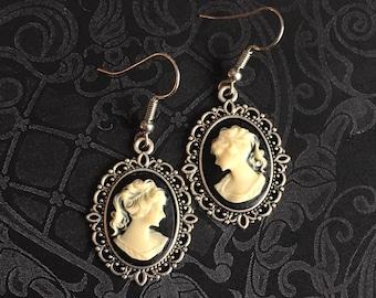 Antique Cameo Earrings, Antique Earrings, Antique Cameo Jewelry, Cameo Earrings, Gothic Cameo Earrings, gift for wife, teen girl gift