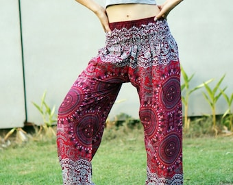 Flower Print Aladdin Pants, Aztec Ethnic Print , Boho Strenchy Pants, Elastic Waist Clothing Beach Women Baggy Casual Trouser Red R447006