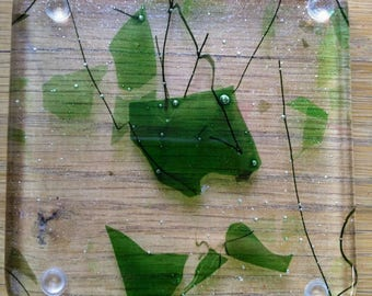 Two leaf scatter fused glass coasters