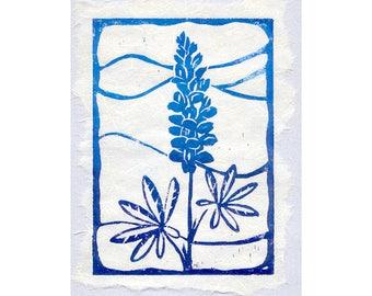 Lupine LinoCut, Matted Blockprint, Original Lupine Flower Art, Purple Blue Lupine Block Print with Mat, Lupine Flower Linoleum Block Print