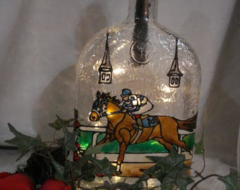 Horse Racing Kentucky Derby Thoroughbred Recycled Woodford Reserve Boubon Bottle Lamp