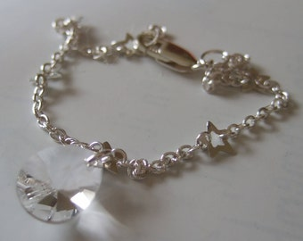 "7.5"" Sterling Silver Star Chain Bracelet with Swarovski Elements Clear Crystal"