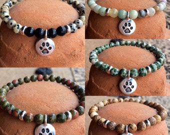 Pet Lovers! Stretch yoga bracelet in choice of gemstone color and paw print charm.
