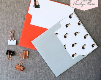 Printed Matching Envelope Liner   A2 Sized Liner   Put On Your Dancing Shoes and Be My Bridesmaid   Unique Way To Ask Your Best Friend