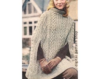 Vintage 1970s Knit Cape Pattern- Womens Irish Aran Poncho Knitting Pattern Arm Slits PDF Instant Download K35