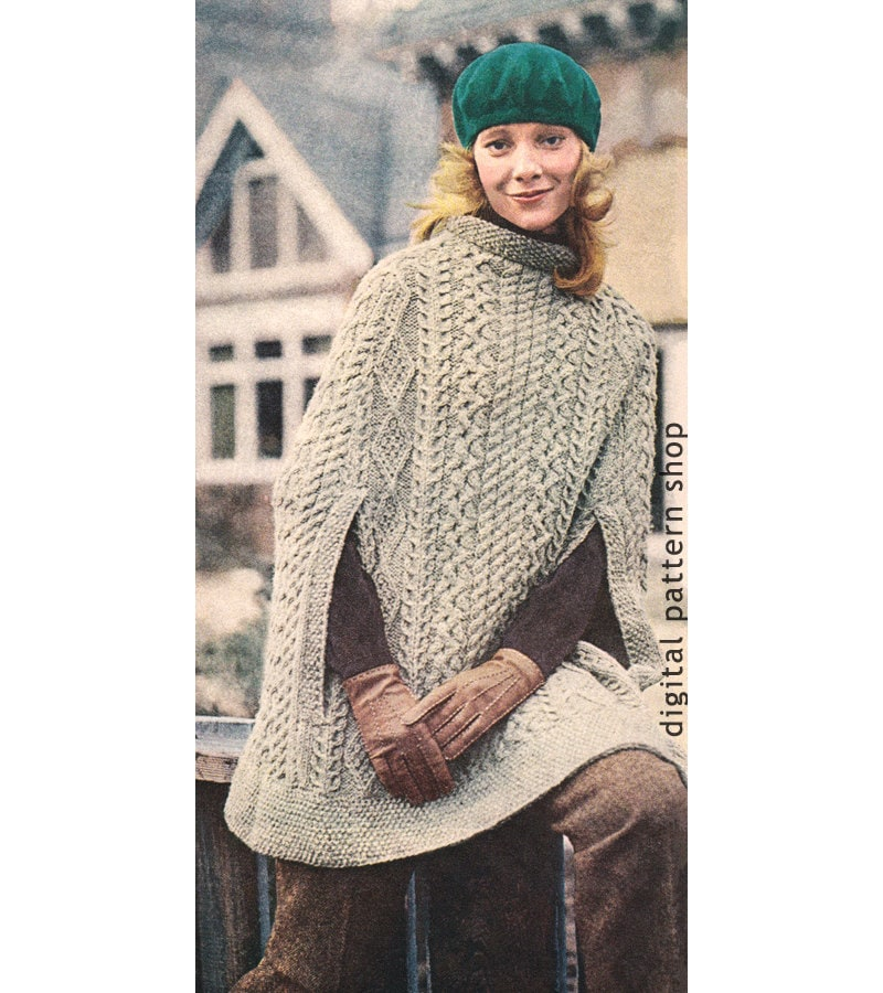Vintage 1970s Knit Cape Pattern- Womens Irish Aran Poncho Knitting ...