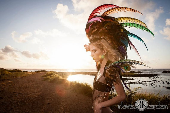 Made to order: Anuenue - Customizable HUGE Rainbow Feather Mohawk / Headdress; Festivals, Masquerades, Costume, Cosplay, Photoshoots