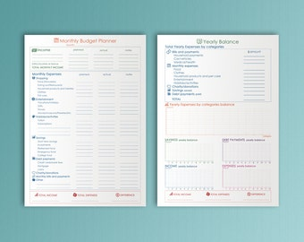 Monthly Budget Planner Printable Yearly Balance A4 Binder Inserts Bills Financial Planner Yearly Budget Finance Track Instant Download