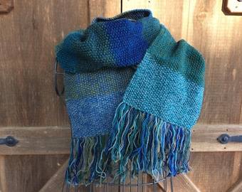 Knitted Wool Extra Long Fringed Scarf