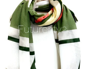 Line And Square Pattern With Green Trim Scarf / Spring Summer Scarf / Autumn Scarf / Gifts For Her / Women Scarves / Handmade Accessories