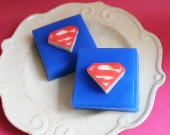 Superhero Soap - Superman Soap, Soap Favors, Cherry Soap, Comic Book Soap, Boys Soap, Kids Soap, Gift For Him, Father's Day Soap, Party Soap