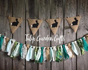 Easter Bunny Garland Set, Easter Banner, Burlap Banner, Burlap Pennant, Bunny Banner, Bunny pennant, Easter Garland, Spring Banner