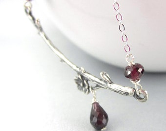 Branch Necklace with Gemstone in Sterling Silver Garnet Amethyst Peridot Drop