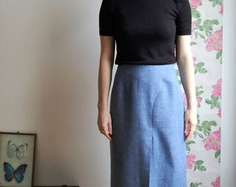 Paulette - long split blue heathered wool vintage high waisted skirt