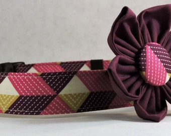 Dog Collar  with Flower - Dewberry - All Sizes