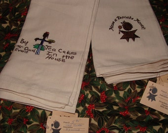 "Tea Towels, 20"" X 20"",Made for Honey Baby's Teacakes, Unused"