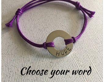 Choose your word, Washer bracelet, Custom bracelet, Inspiration jewelry, Bracelet, Gift for her, Gift for Him, Friendship bracelet, Gift