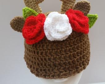 Deer Hat with Flower Crown