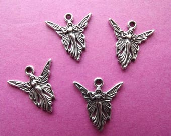 6 charms in antique silver Butterfly Fairy