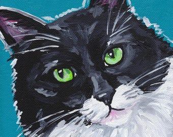 Tuxedo Cat Art Print, colorful tuxedo cat print