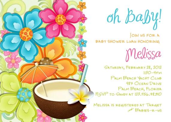 luau baby shower invitation tropical hawaiian hula party