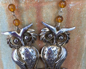 Upcycled We Both Give A Hoot Twin Owl Statement Necklace 2025C24