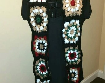Mixed Media Granny Square Scarf