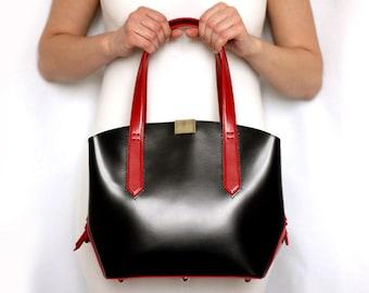 Kostenloser Versand! Schwarz, Ledertasche, schwarze Handtasche, Tasche für jeden Tag, Einkaufstasche, Lederhandtasche, Umhängetasche, schwarze Umhängetasche, big-bag