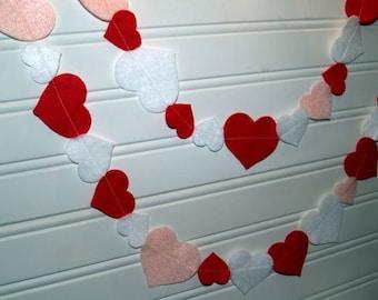 SALE Valentine Heart Garland in Red Pink and White Felt