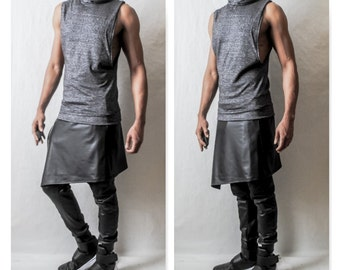 Faux Leather Latex -Kilt Overlay  Drop Crotch Jogger In Coated Jersey Leather Latex Inspired By- Givenchy,Stetcky ,Rick Owens, Darkshadow,