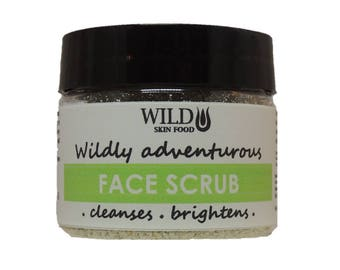 Dry Face Scrub 55g, gently cleanses & scrubs for  a silky soft face, no preservatives - totally natural, vegan organic scrub, Wild Skin Food