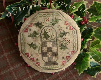 Primitive Cross Stitch Pattern - Quaker Holly Pinwheel