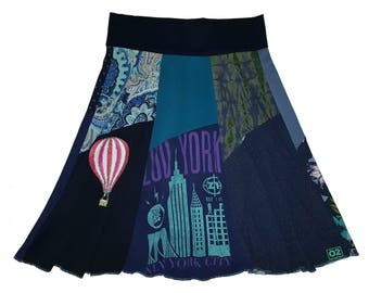 New York Hippie Skirt XL 1X Women's 16 18 upcycled one of a kind plus size clothing hot air balloon t-shirt skirt twinklewear Twinkle Skirts