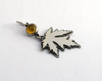 SALE maple and citrine pendant sterling silver jewelry