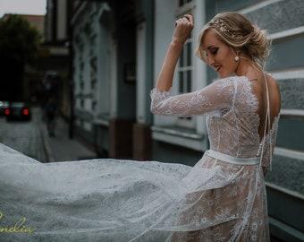 Long Beige Lace Wedding Dress/ Bohemian Long Beige Lace Wedding Dress/ Long Boho Wedding Dress/ Vintage Style Lace Wedding Dress/Beige Lace