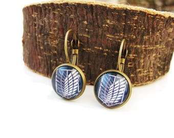 Shingeki no Kyojin - small leverback earrings elegant simple earrings 12mm glass dome Attack on Titan cabochon navy blue white earrings