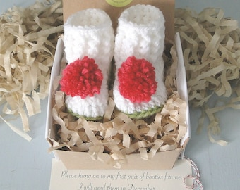 December Baby Reveal, BOOTIES IN A BOX®, Pompom Booties, Grandparent Pregnancy Reveal,  Baby Reveal,  Daddy Reveal, 0-3 Months old, Baby