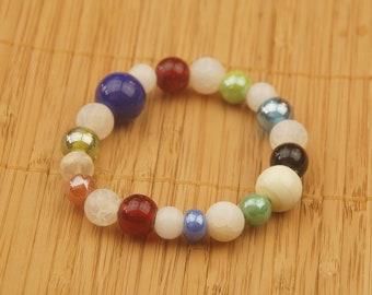 Bracelet made of round glass beads