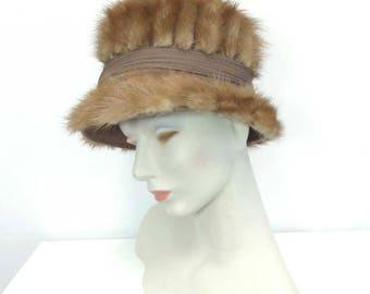 "1960s Lt Brown Mink Bucket Hat Rockabillly Mod Hollywood 21"" USA UNION MADE"