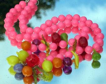 Fruit Salad Vintage Necklace Cha Cha Carmen Miranda Haute Couture Hot Pink Bakelite Era Statement Pop Art Modernist Bold Charms Fun Unusual