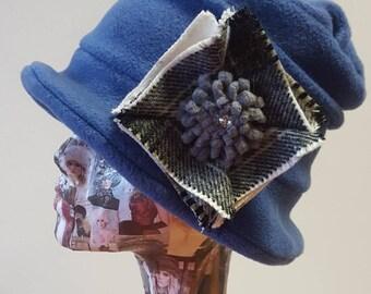 Handmade Blue Fleece Hat with Tweed Detail and Fleece Lining