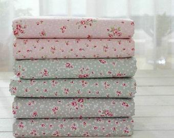 Aqua Blue Fabric Pink Flower Fabric,Shabby Chic Flower Fabric,Pink Green Grey Floral Cotton Fabric Half Yard / Meter (QT341)