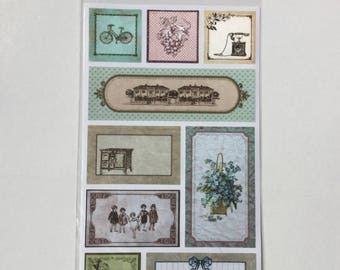Scrapbooking, vintage, flowers, decorative stickers