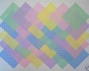 PASTEL PRINTS 5 inch Squares, 100% cotton, Prewashed  Quilt Block Fabric (#47)