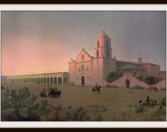 California Missions Book Print (1974): San Luis Rey De Francia, Catholic History, American Geography, Teacher Gift, Church Architecture