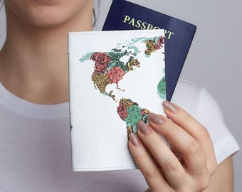 Colorful map passport holder personalized leather passport flower print passport cover world map passport leather cover hello world passport holder passport case wallet gumiabroncs Image collections