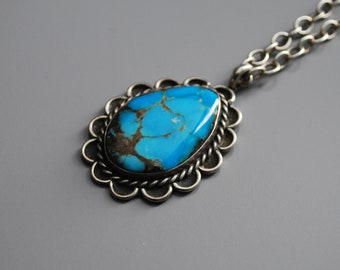 "Paisley Turquoise Necklace - Turquoise Pendant - 22"" Chain - .925 Sterling Silver - Handmade"